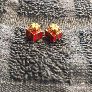 Avon 3D Present Gift Earrings Enamel Accents